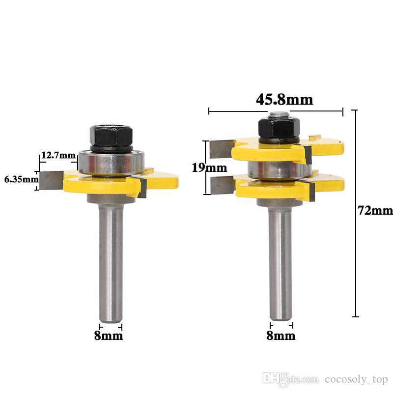 DIY Woodworking Tools 2 Bit Tongue and Groove Router Bit Set Wood Milling Cutter -8mm Shank