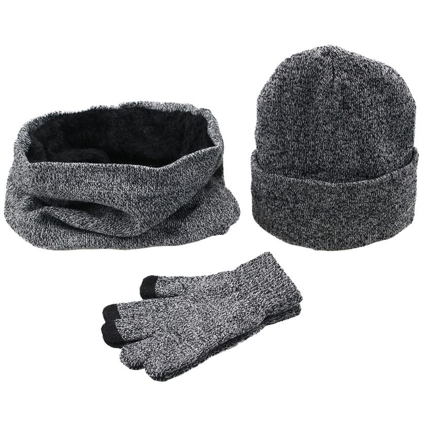 5eb894f04d920 2019 Women Winter Hats Scarves Gloves Kit Fashion Knitted Plus Velvet Hat  Scarf Set For Male Female Beanies Scarf Glove From Shanqingmou
