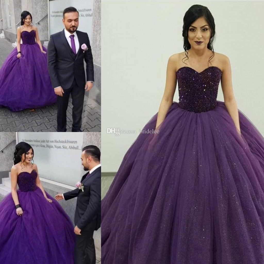 8e03a8762ac 2019 Graceful Purple Tulle Ball Gown Quinceanera Dresses Beads Sweetheart  Floor Length Bridal Dresses Fashion Prom Dresses Quinceanera List  Quinceanera ...