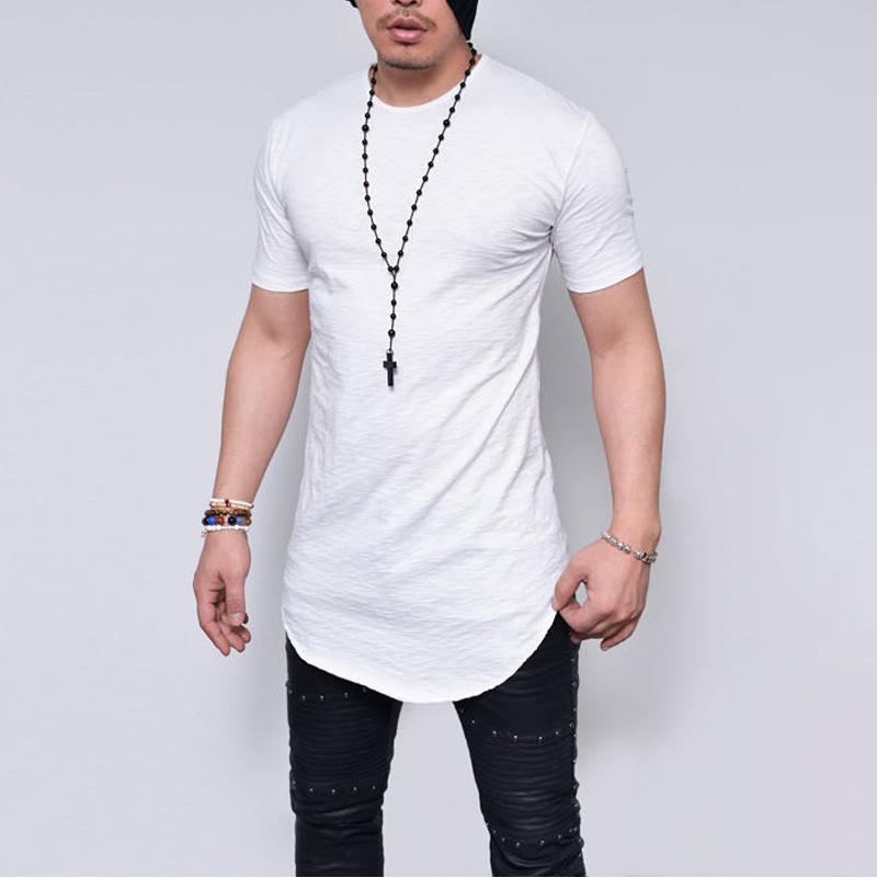 Homens De Bambu Tshirts Verão de Manga Curta Cor Sólida Respirável Cozy Tees Vestir Roupas Longline Curvo Tops Slim Fit
