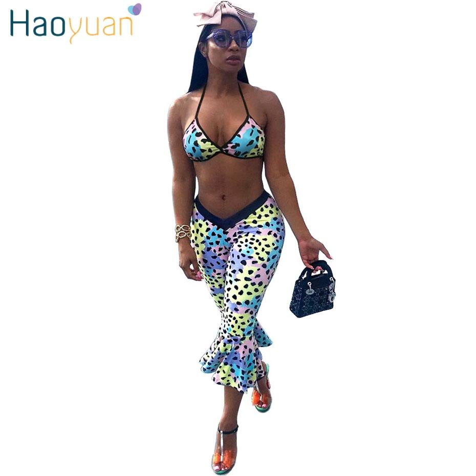 d84d4e7610138 Wholesale Colorful Leopard Sexy Two Piece Set Summer Beach Outfits Crop  Tops And Bodycon Ruffle Pants Suit Boho Set Women Online with  43.04 Set on  ...
