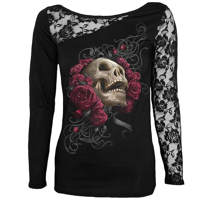 8076025df87 Halloween Elements T Shirt Women O Neck Long Sleeve Lace One Shoulder Top  Tees Black Plus Size M 5xl Female Fashion Canada 2019 From Clothingdh