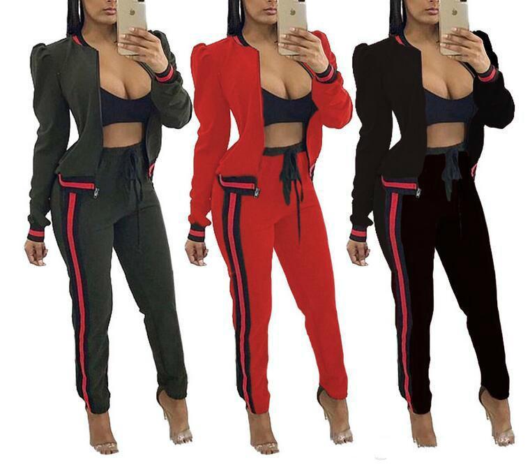 395128d82b 2018 Two Piece Set Tracksuit Women Full Sweat Suits Long Sleeve Top Pants 2  Piece Set Sportwear Casual Set For Women Ladies Tracksuits