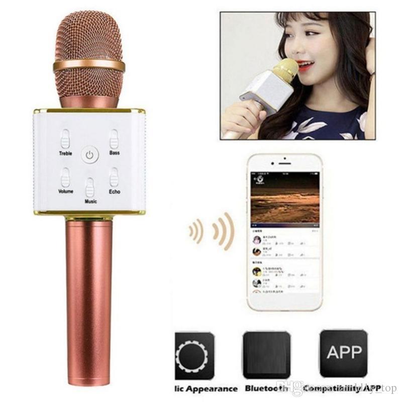 Q7 Micrófono Q9 Micrófonos inalámbricos Bluetooth Micrófono de karaoke mágico con 4 altavoces MIC Divertido cambio de voz Reproductor profesional altavoz