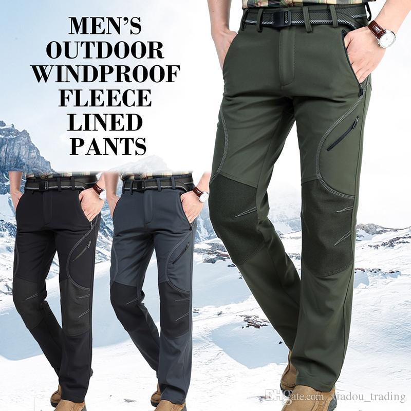 cf58d898d Men Hiking Pants Softshell Windproof Fleece Lined Pants Outdoor Sports  Climbing Waterproof Trekking Skiing Male Trousers 5 Zipped Pockets