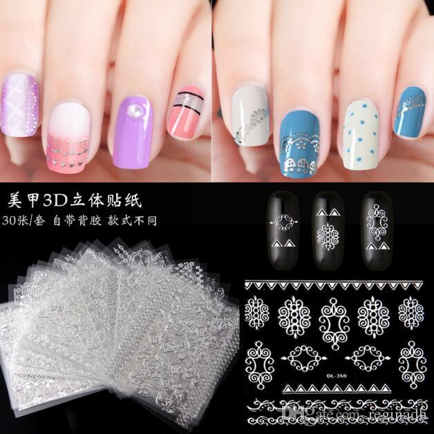 Nail sticker Nail art 3D stickers foam three-dimensional strap plastic nail stickers 30 different modelssiver stickers set