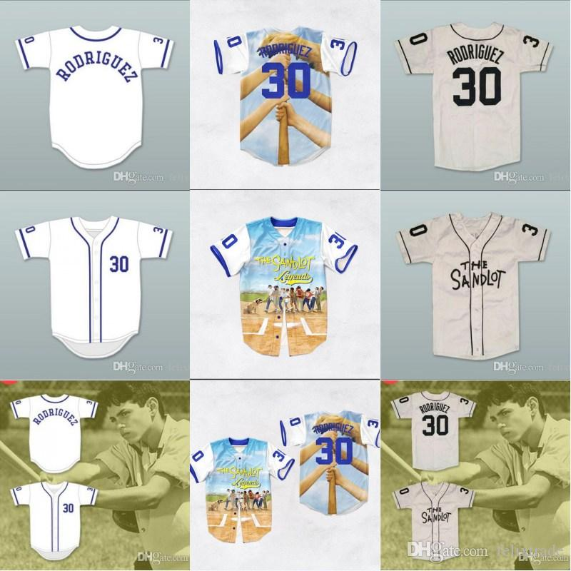 096fd5a0a Compre Mike Vitar Benny  The Jet  Rodriguez 30 Baseball Jersey The Sandlot  3D Print Jerseys Camisa Para Hombres Mujeres Juventud Stiched Name Number A  ...