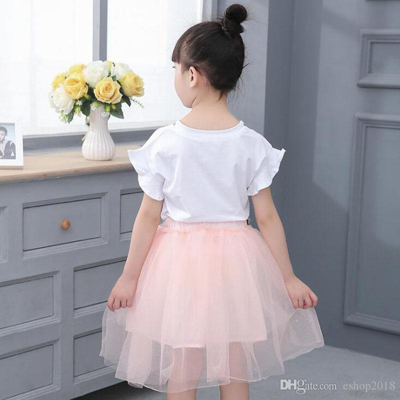Summer New baby girls clothes Dress Suits white letter T shirt Flower tutu skirt sets floral children clothing Outfits