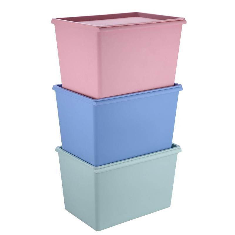 Stackable Plastic Storage Box With Lid Square Cloth Container