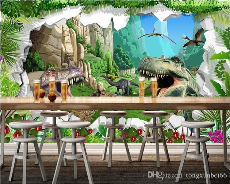 Custom Mural Wallpaper 3D Cartoon Dinosaur Living Room TV Background Wall Mural Children's Room Bedroom Photo Backdrop Wallpaper