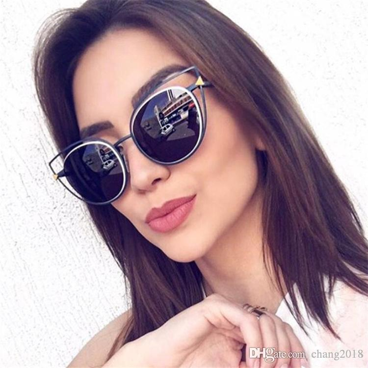 52129a281a25 2017 New Cat Eye Sunglasses Women Brand Designer Fashion Mirror Cateye Sun  Glasses For Female Vintage Gold Frame Glass 97242 Cool Sunglasses Custom ...