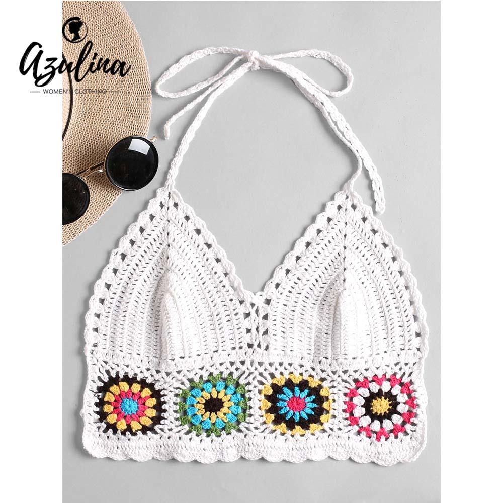 2019 20187 Azulina Women Tops Halter Crochet Bralette Camis
