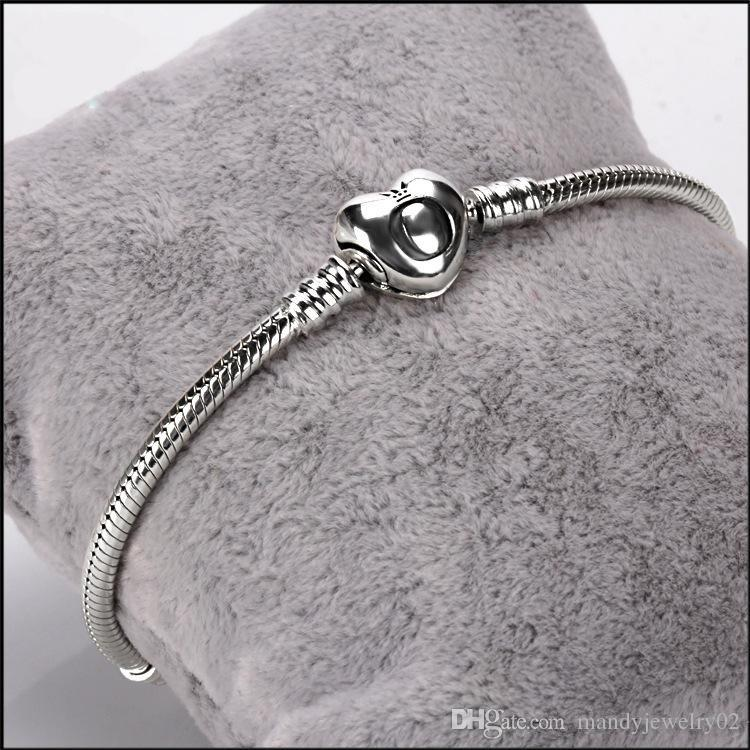 2018 marke Original 925 Silber herz verschluss Perlen 3mm Schlangenkette Armbänder Fit Europäischen Pandora herz Charms Armband DIY Modeschmuck