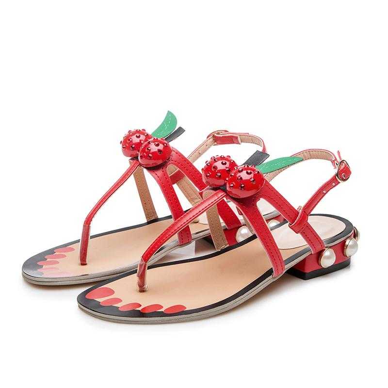 1587186cda08f Chic Red Cherry Decor Summer Woman Sandals Cute White Pearl Girl S High  Heels Flipflop Sexy Pumps Female Party Dress Shoes Brown Wedges Gold Wedges  From ...