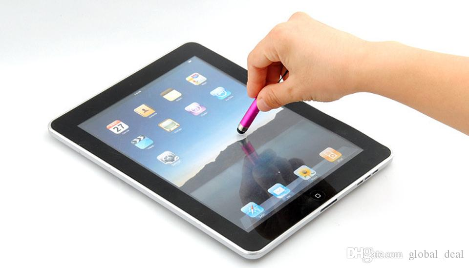 Mix Farbe Kunststoff Mini kurzer kapazitiver Stift Touch Screen mit Anti-Staub-Stecker für ipad iphone Samsung Galaxy Tablet PC Handy