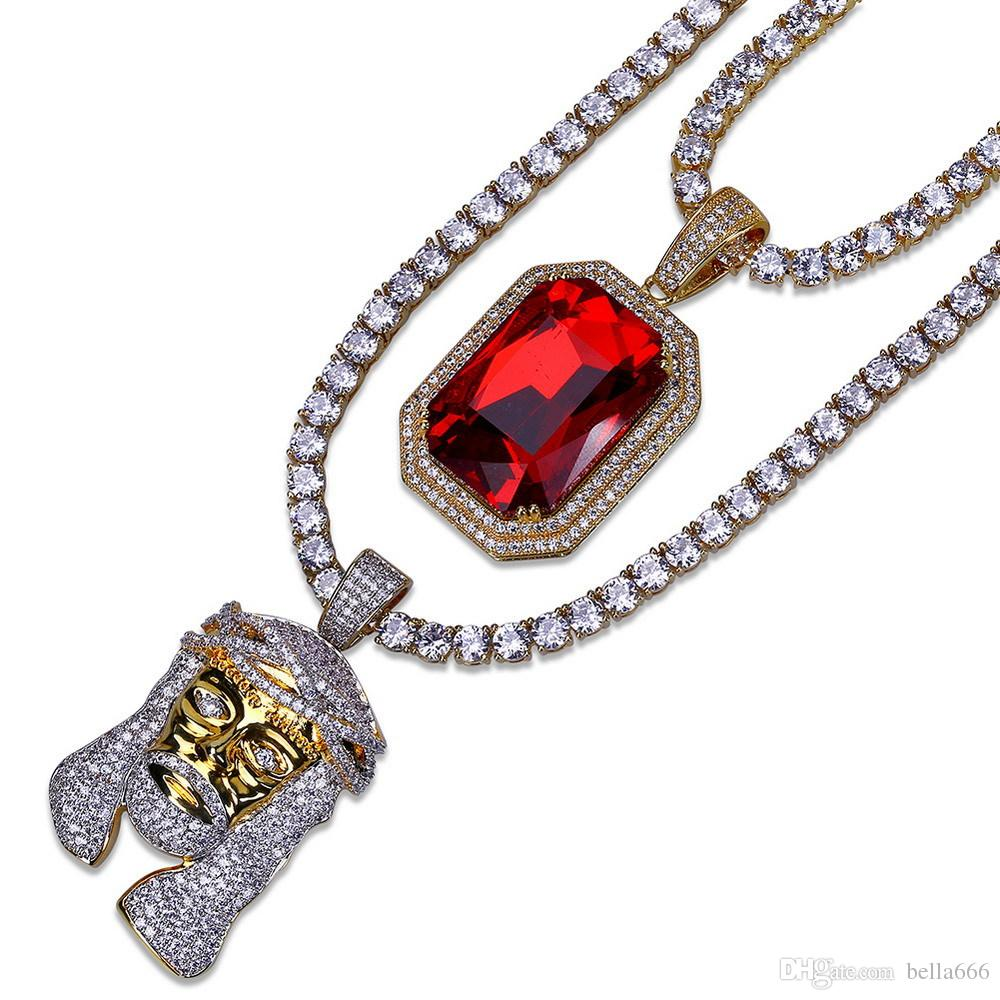 Men's Hip Hop Cubic Zirconia Ruby Pendant Necklace Copper Juses Pharaoh Head Pendants Necklaces Jewelry Set 20inch 24inch CZ Link Chain