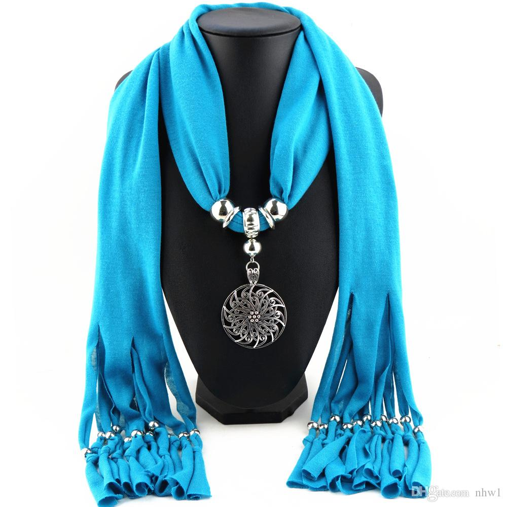 Bohemian Tassel Scarf Alloy Round Flower Pendant Jewelry Scarves For Women Ladies Polyester Necklace Scarf Gift