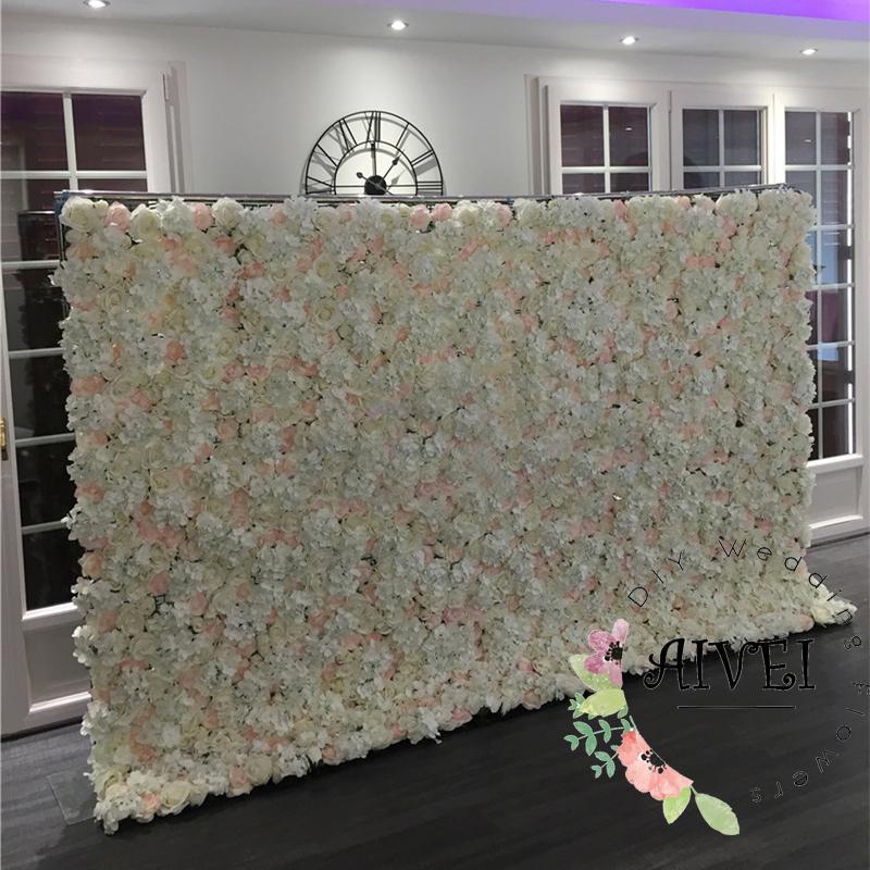 White Wedding flower wall simulation flower runner Artificial silk rose with hydrangea wedding stage backdrop decoration