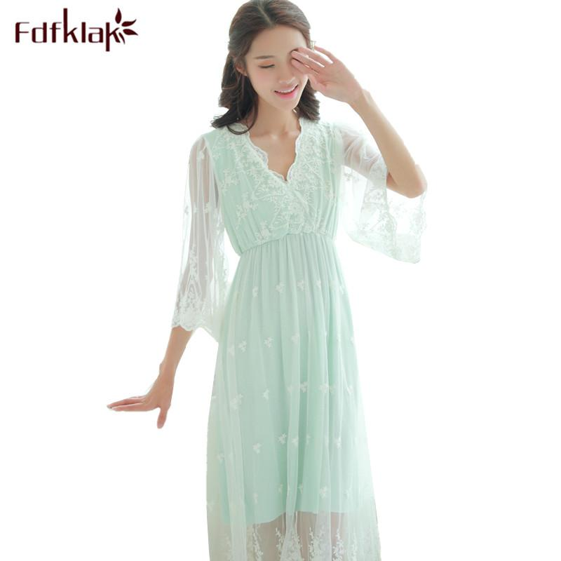 c7f15c0a69 2019 Fdfklak Sweet Lace Pajamas For Pregnant Women Spring Summer Dress  Maternity Nightwear Nightgowns Female Pregnancy Clothes From Bradle