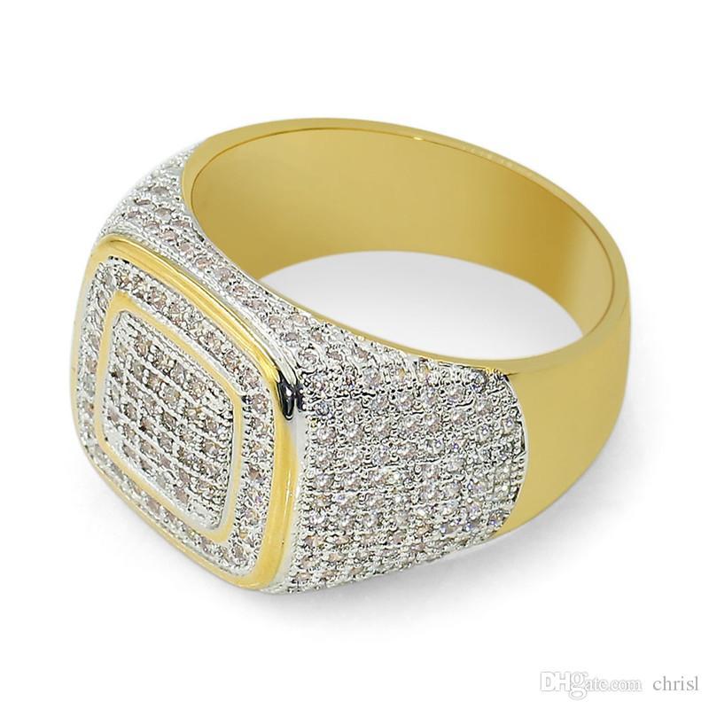 Hip Hop Ouro 18K Cluster Plantada Aneis de Latão CZ congelado para fora para homens anel de cristal para as Mulheres Homens