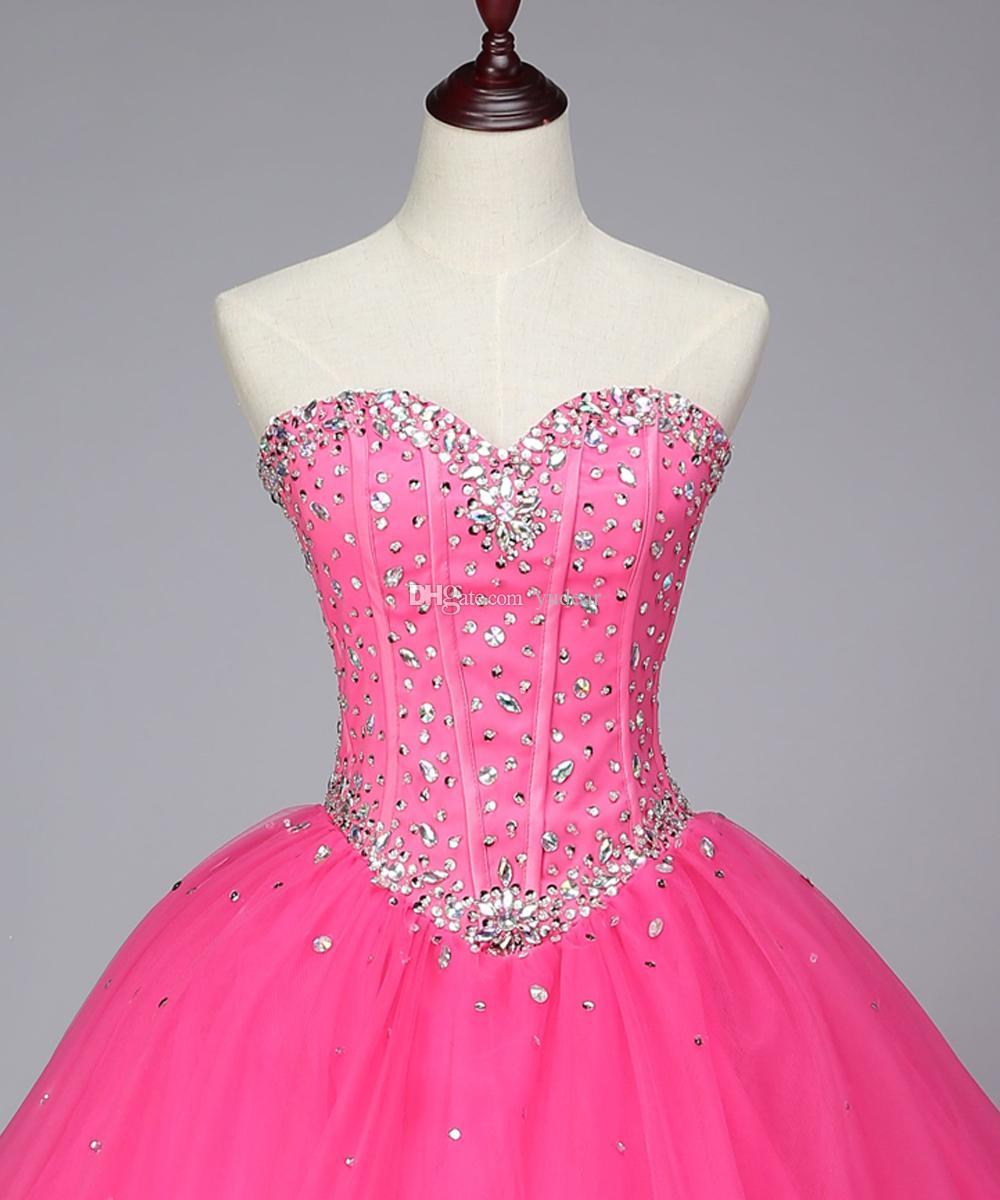 2019 Nova Chegada Querida Vestido De Baile Quinceanera Vestidos de Verão Sem Encosto Debutante Vestidos Brilhantes Strass Lace Up Doce 15 Pageant Vestido