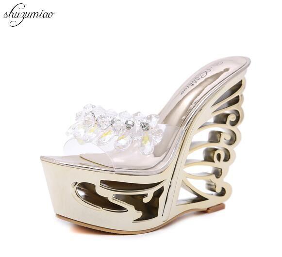 50396f00c8fe8 Schuhe Frauen Heterotypische Ferse Sexy Strange Style Ferse Sommer  Weibliche Plattform Schuhe Neuheit Sandalen High Heels 14 cm Dame Hochzeit