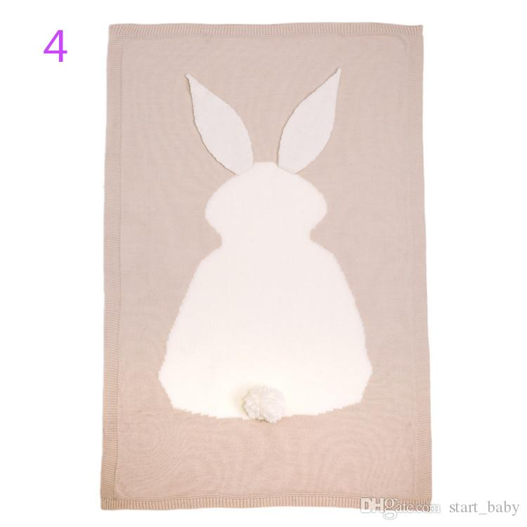 105*75cm Ins Kids Rabbit Ear Blankets Baby easter day 3D Blankets Hand Knit Crochet Bunny Swaddling Infant Cartoon Knitted Bath Towels B11