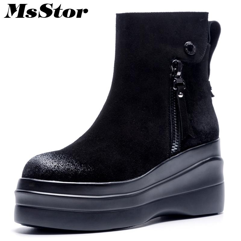 Msstor Thick Bottom Women Boots Fashion Zipper Buckle Ankle Boots ... 6ad3d4b1f25a