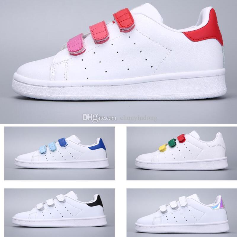 Conception innovante 2ce74 4c0b0 Adidas Stan Smith Superstar Nouvelle Arrivée 11 Couleurs Enfants Superstars  Causal Chaussure avec trois boucles pour garçons Filles Garçons Mode super  ...
