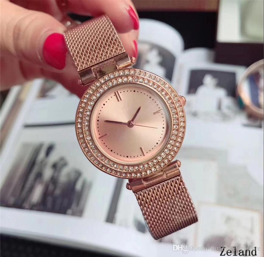 9f1f3237ce9 Compre Super Qualidade Marca De Luxo Mulheres Relógios Senhoras Diamantes  Relógio De Quartzo Relógio Feminino De Aço De Malha De Aço Inoxidável  Pulseira ...