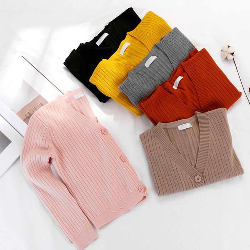 pretty nice ba427 08010 Vintage einfarbig grau schwarz gelb plus size tricot cardigan für frauen  langarm vertikal gestreiften pullover jumper kurz cap