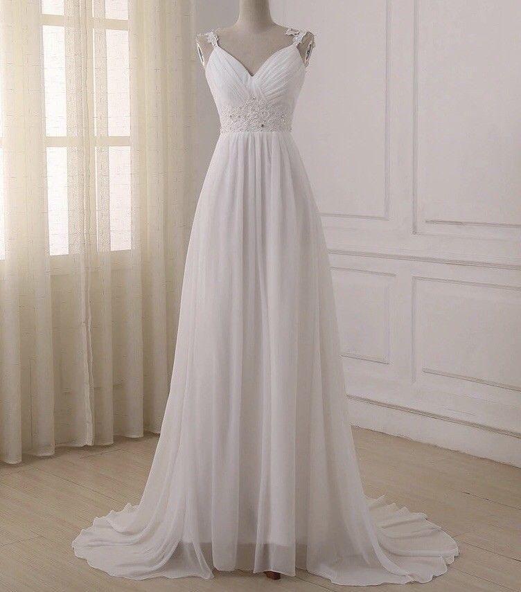 d535796112 Discount New Luxury White Ivory Wedding Dress Chiffon Bridal Gown Custom  Size Full Length Wedding Formal Occasion Party Dress For Wedding Maternity  Wedding ...