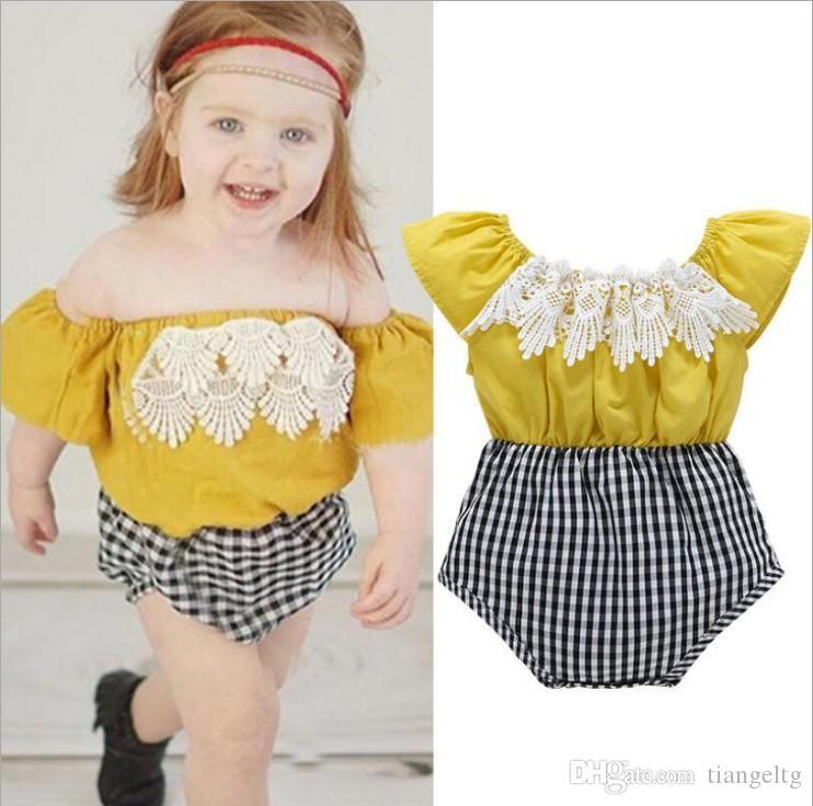 7e88e72b06e5 2019 Baby Girls Jumpsuit With Tassels Plaid Pants Strapless Romper ...
