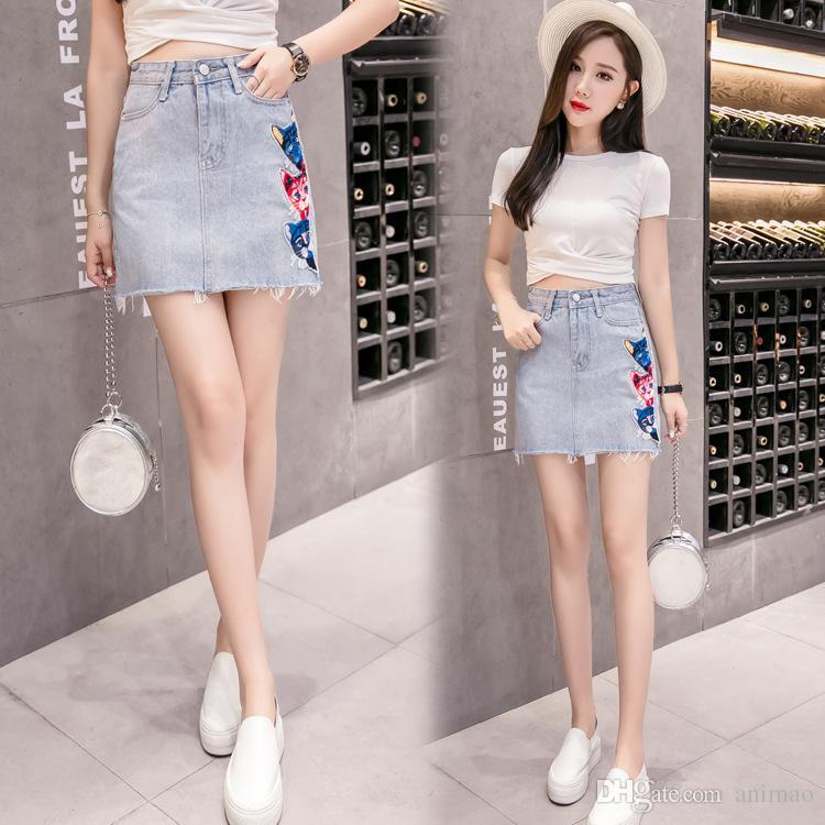 60e665822dca 2019 2018 A Line Skirt Embroidery Summer New Korean Denim Skirt ...