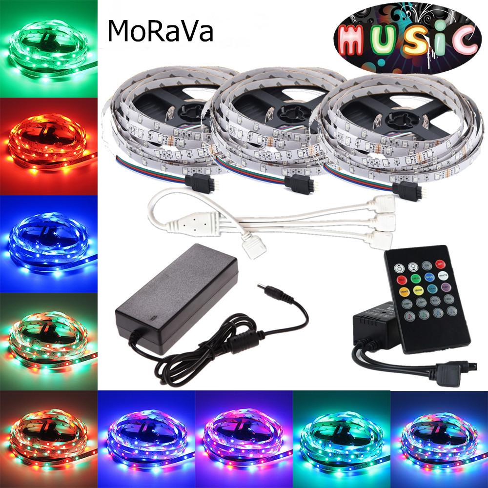 5m 10m 15m Led Strip Smd 2835 Dc 12v Rgb Tape Ribbon Music Controller With Pic12f675 2a 3a 5a Power For Party Christmas Home Decoration 9v