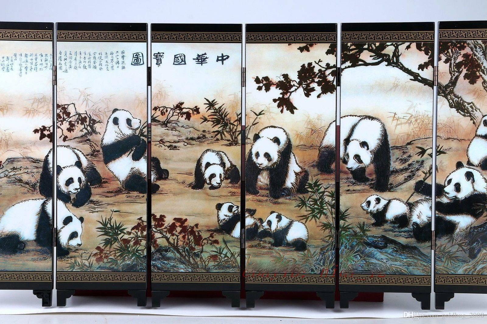 """Good Chinese Lacquer Handwork Painting """"National Treasure Screen Scroll"""