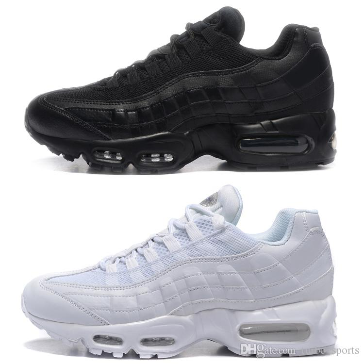 purchase cheap 1aa83 aae4a 2018 Shoes Classic 95 OG Tripel White Black Mens Women Running Shoe 95s  Cushion M95 GS Authentic Sports Boots Sneakers Size5.5-12 3053-200 Free  Shipping ...