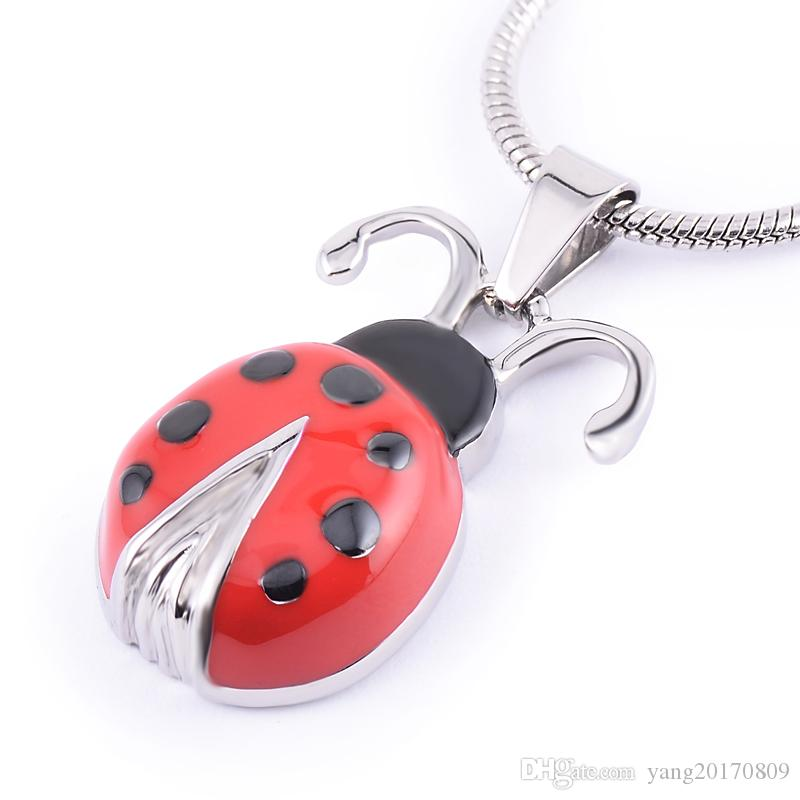 IJD8285 Newest Red and Black Enamel Lady Beetle Memorial Urn Jewelry 316L Stainless Steel Pet Cremation Ashes Keepsake Pendant