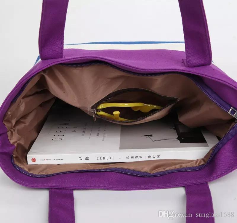 Borsa di tela delle donne della borsa della spiaggia di estate Borsa di colore della stampa di colpo di modo delle ragazze della signora Borse a tracolla della banda delle borse casuali della borsa delle borse SV029776