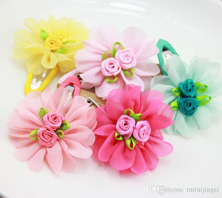 2018 Pet Cats Grooming Accessories Clips Dogs Chiffon Puff Flower BB clip Rose Flower Core Hair Clip