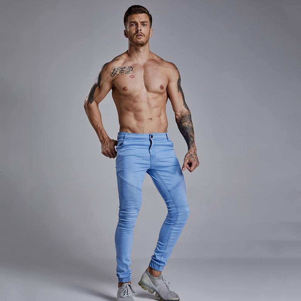 265f4ccd5cc74 2019 Moda Hombre 2018 Skinny Jeans Men Comfortable Leisure Cowboy Trouser  Straight Skinny Jeans Men Motorcycle Zipper Denim Pants From Biwanrou