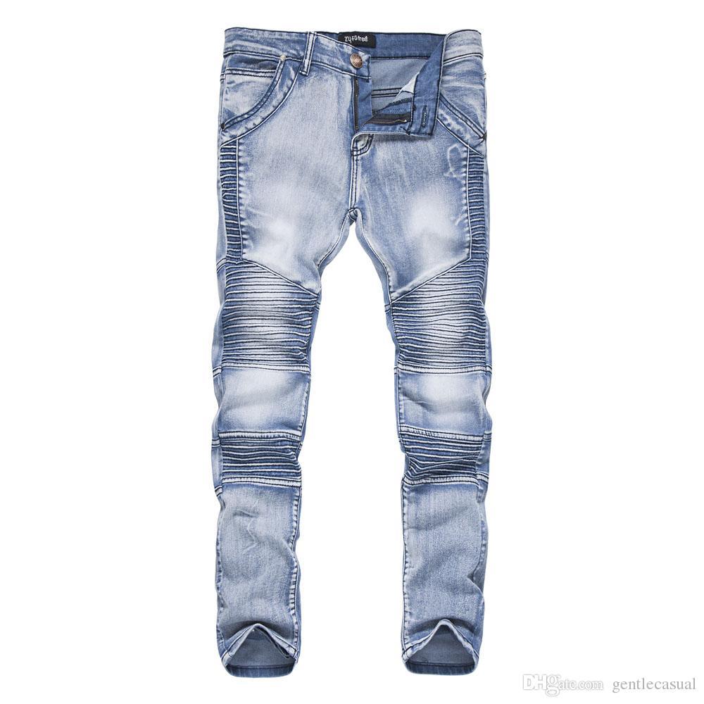 3523f230a Men Vintage Draped Jeans Light Blue Black HipHOP Skateboard Biker Jeans  Long Pencil Pants Skinny Fit Slim