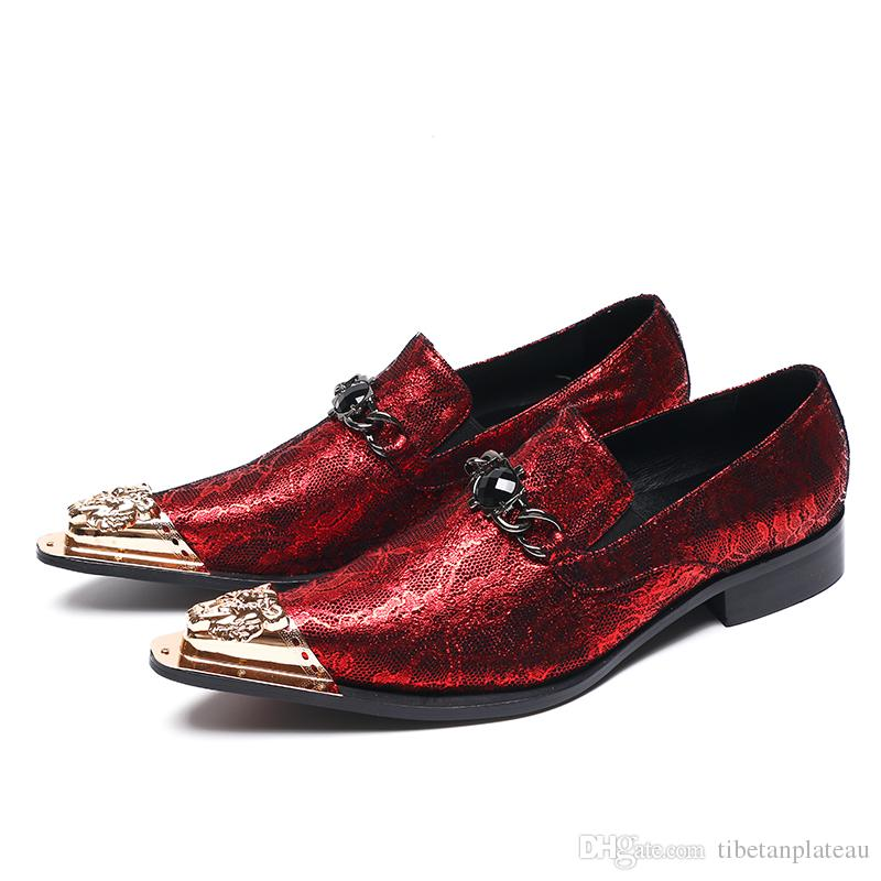 940f2262db Christia Bella Bling Bling Men's Oxford Shoes with Gold Metal Toe Luxurious  Glitter Wedding Flowers Dress Shoes Men's Flats Shoe