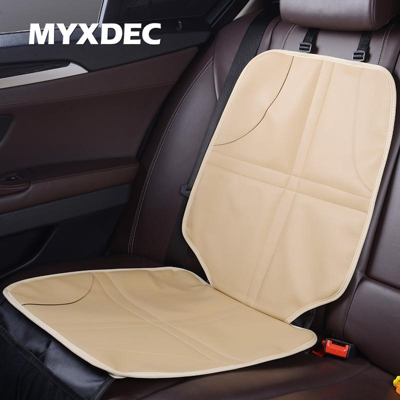 MYXDEC Luxury Leather Child Car Seat Protector Baby Auto Anti Slip Mat With Two Storage Pockets Universal Heated Covers