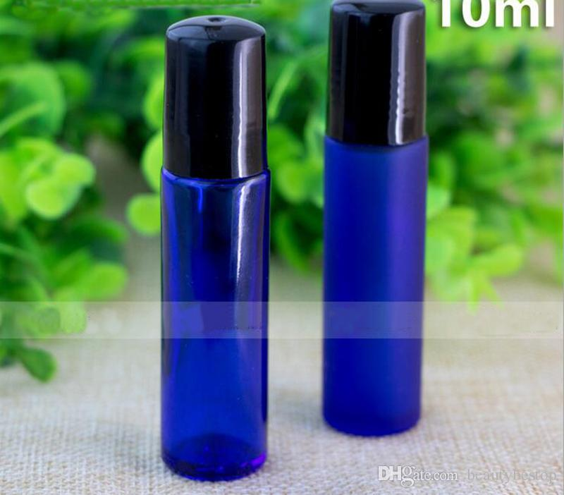 Roll On Roller Glass Bottles 10ml For Essential Oils Roll-on Refillable Perfume Bottle Deodorant Containers With Black Lid