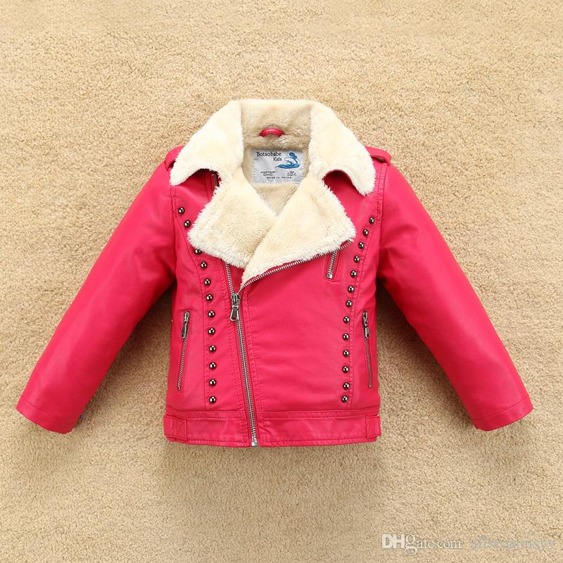 a53649b8b New Thermal Fleece Thick Boys Girls Leather Jacket With Fur Collar For  Autumn Winter Kids Warm Coat Bomber Soft Water Proof Coat For Girl Black  Coats For ...