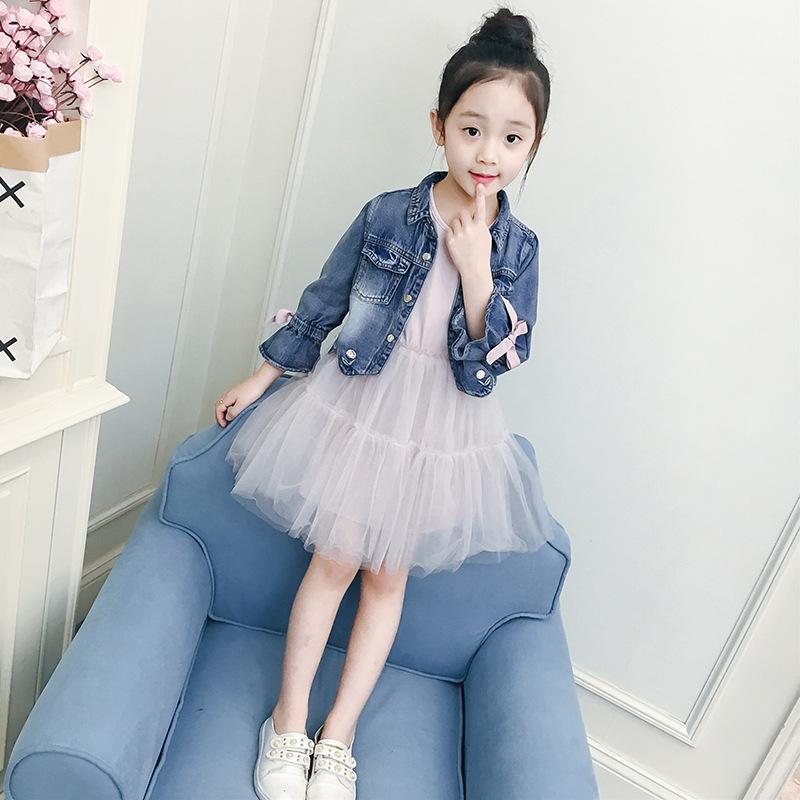 d7e5caa61d27 2019 Girls Denim Jacket + Mesh Dress 2018 Spring Children Clothing Sets Teenage  Girls Fashion Sports Suits Age 3 12 T From Coolhi