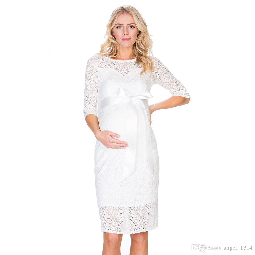 2c4f2e1eec2 New Lace Maternity Dress Elegant Casual Half Sleeve Evening Dress For Pregnant  Women Boat Neck Pregnancy Dresses Summer Lace Maternity Dress Evening Dress  ...