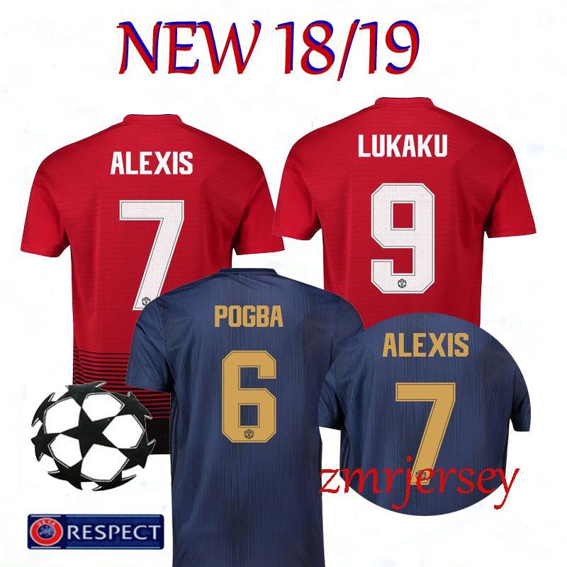 new style ee59d 5148f Thailand Alexis sanchez POGBA man soccer jersey 2019 LUKAKU LINGARD  RASHFORD football kit Top jersey UTD MATIC jersey 18 19 soccer shirt
