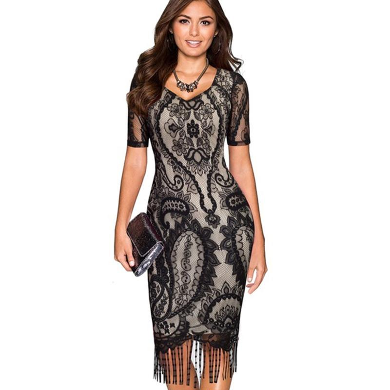 acf7480016a5f Elagant Lace Evening Party Dresses Women Sexy Bodycon Pencil Dress Short  Sleeve Fringe Tassel Vintage Summer Dress Vestidos
